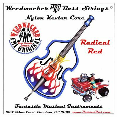 Radical Weedwacker Pro Bass Strings Nylon-kevlar Core Fits All Size Basses (Red)