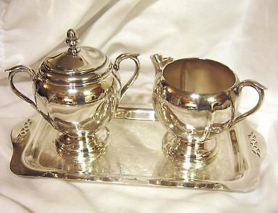 Sheffield Silverplate Sugar with Lid, Creamer, Tray