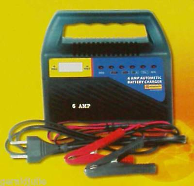 6 AMP 12V PORTABLE AUTOMATIC BATTERY CHARGER CARS BOATS