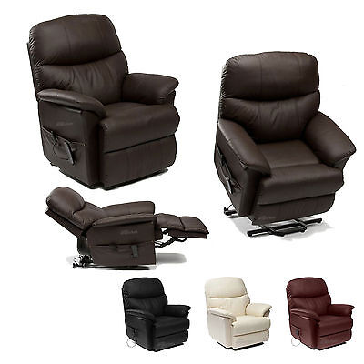 Lars Leather Rise Riser and Recliner Armchair 4 Colour