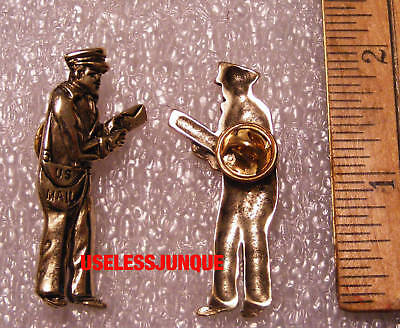 US POSTMAN MAIL CARRIER HAT PIN GOLD PLATED
