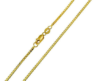56bd4d5d63502 14K SOLID REAL Yellow Gold Box Link Chain Necklace 1.2 mm 18