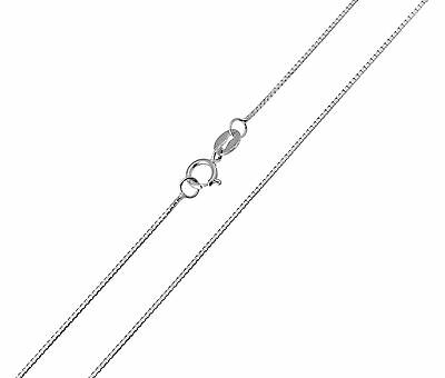 "14K Solid Real White Gold Light Box Chain Necklace 0.35mm 20"" Women Children"