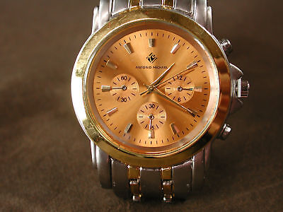 Mens Antonio Michael Gold Dial Chrono Style Watch