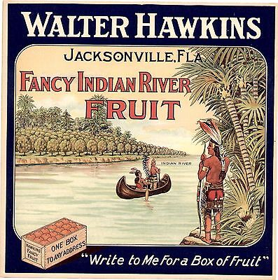 Rare Old Jacksinville Florida Citrus Label: Indians In Canoe - Walter Hawkins