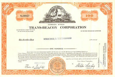 Trans-Beacon Corp > Insurance stock certificate share