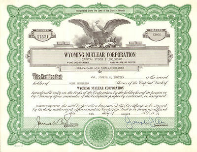 Wyoming Nuclear Research Corp Nevada stock certificate
