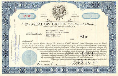 Meadow Brook National Bank > New York stock certificate