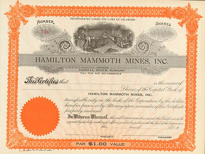Hamilton Mammoth Mines > mining stock certificate share