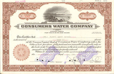 Consumers Water Company   Maine stock certificate share