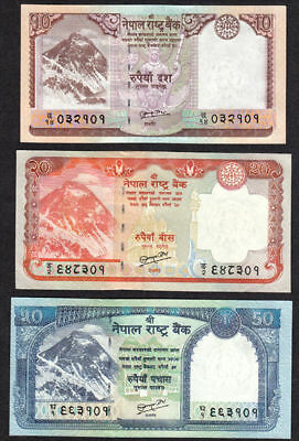 NEPAL 2010 Rupes10,20 & 50 EVEREST BANKNOTE with signature # 19 UNC
