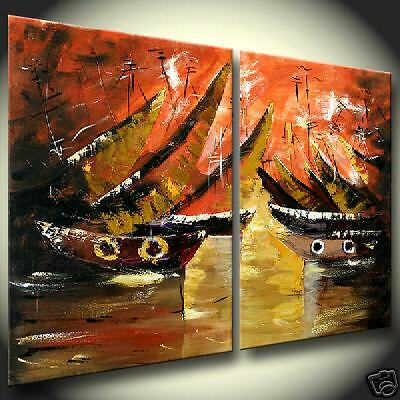 Colorful Sailboats Abstract Acrylic Painting modern Abstract Seascape on Canvas
