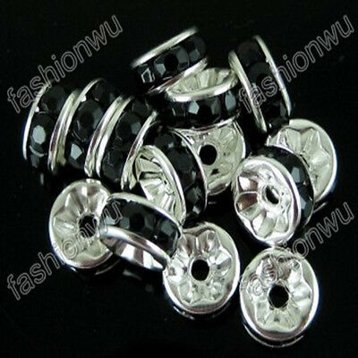 100 Pcs 8MM Black Rhinestone Rondelle Spacer Circle