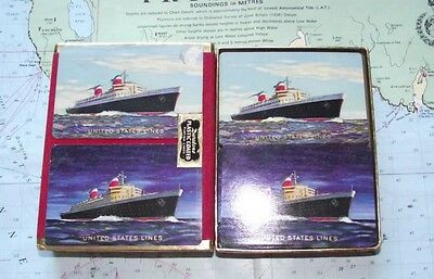 Twin Box c1950 United States Line Playing Cards : Good