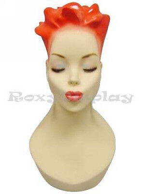 Female Fiberglass Mannequin Head Bust Vintage Wig Hat Jewelry Display #Y4