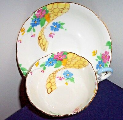 Grafton China England  Art Deco Cup & Saucer Flowers