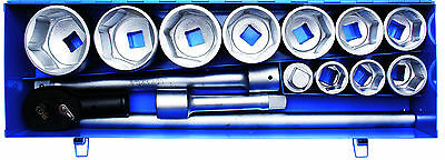 "BGS Germany 15-pc Reversible Ratchet Wrench Metric Socket Set 1"" Drive 36-80mm"