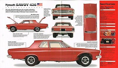 1963 PLYMOUTH SAVOY 426 WEDGE SPEC SHEET/Brochure:MOPAR