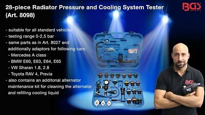BGS Germany 24-pc Massive Trade Quality Radiator Pressure Cooling System Tester