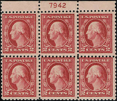 Pb Of 6 #463 Stamps With Plate #7942 From The #467 Error Sheet Mint-Og/Nh