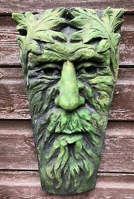"Lg Michelangelo green man wall plaque stone home or garden ornament 38cm//15/"" H"