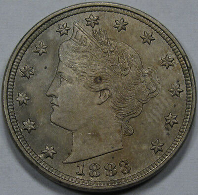 """1883 Liberty Head - V Nickel """"NO CENTS""""  ORIGINAL AND NICE TONING! BETTER DATE *"""