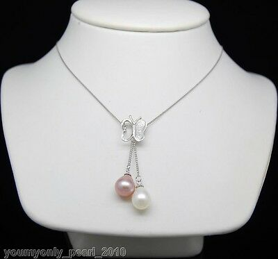 """MP"""" Natural 9-10mm AAA+ pearl pendant 925Silver chain"""