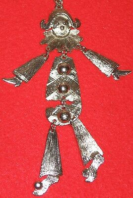 Large Silver Clown French Harlequin Jester Runway Necklace Vintage Darling