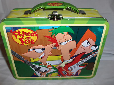 Phineds & Ferb`Green Handle.Raised Front Graphics`Metal Lunchbox`NEW->Free To US