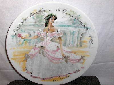 Scarlet In Crinoline--Inaccessible Woman`Limoges Plate->Free To US