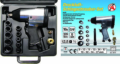 """BGS Germany 1/2""""dr Air Impact Driver Rattle Gun Wrench Socket Set 320Nm 236FT/LB"""