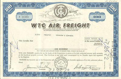 WTC Air Freight   California aviation stock certificate
