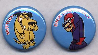 DICK DASTARDLY AND MUTTLEY pair of Badges Button Pins