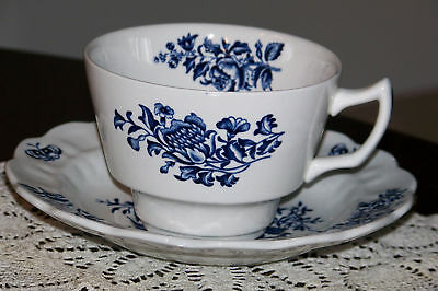 Booths - Peony A8021 (Blue on White) - Cup and Saucer
