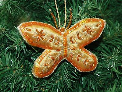Victorian Beaded Style Butterfly Christmas Ornament