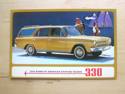 1964 RAMBLER AMERICAN Wagon 330 Post Card PostCard