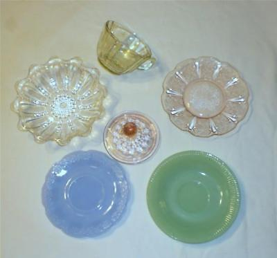 6 Depression Glass Items (dealer mixed lot)