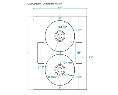 200 CD/DVD Labels Neato® Comparable Layout