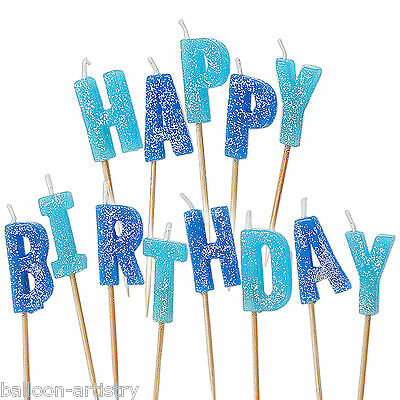 13 BLUE Glitz Happy Birthday Glitter Pick Candles