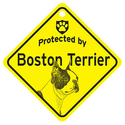Boston Terrier Protected By Dog Sign and caution Gift
