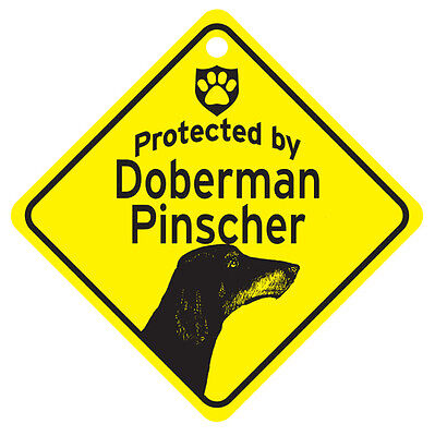 Natural Ears Doberman Protected By Dog Sign and caution
