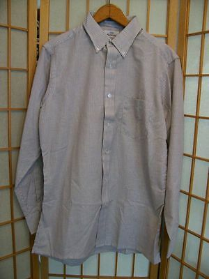 NEW NOS Vintage WICKFIELD Attractive BROWN STRIPE OXFORD SHIRT  Mens Size L