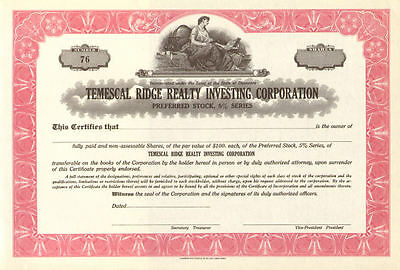 Temescal Ridge Realty > California stock certificate