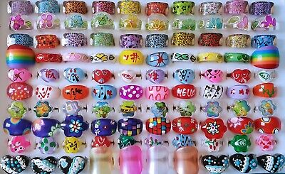Bulk Lot 20 MIXED Adults Kids Lucite Rings WHOLESALE