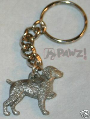 BRITTANY Dog Fine Pewter Keychain Key Chain Ring NEW