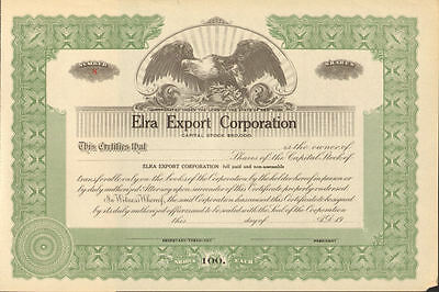 Elra Export Corporation > New York stock certificate