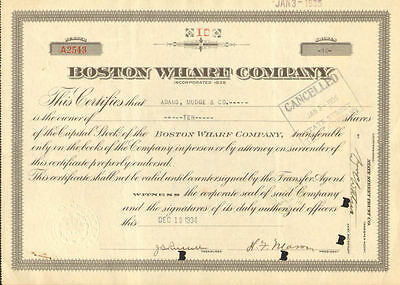 Boston Wharf Company   Massachusetts stock certificate