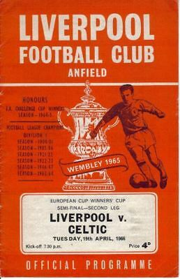 1966 CUP WINNERS CUP SEMI-FINAL - LIVERPOOL v CELTIC