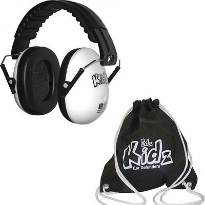 White Kid Childs Ear Defender Earmuff Protection Baby + Free Black Bag