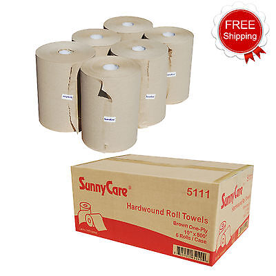"SunnyCare® #5111 Kraft 10"" Touchless Paper Towel Rolls 800' Roll - 6 / Case"